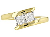 Moissanite 14k Yellow Gold Over Silver Ring .46ctw DEW