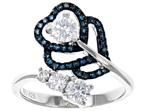 Moissanite and Blue Diamond Platineve Ring .69ctw DEW.