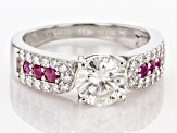 Moissanite with Mozambique Ruby Platineve ring 1.46ctw DEW.