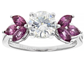 Moissanite And Rhodolite Garnet Platineve Ring 1.20ct DEW.
