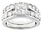 Moissanite Platineve ring with band ctw DEW.