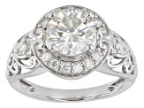 Moissanite Platineve Ring 2.20ctw DEW.