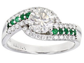 Moissanite And Zambian Emerald Platineve Ring 1.32ctw DEW.