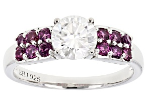 Moissanite And Rhodolite Garnet Platineve Ring 1.00ct DEW.