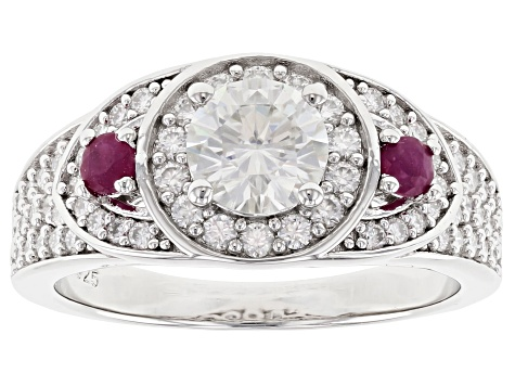 Moissanite with Mozambique Ruby Platineve ring 1.62ctw DEW.