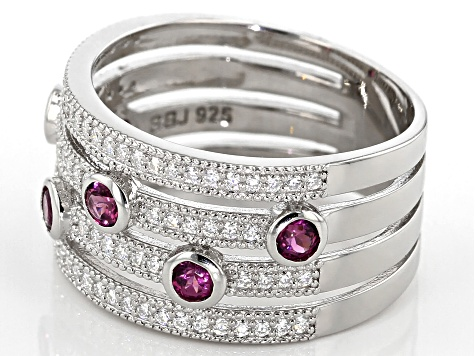 Moissanite And Grape Color Garnet Platineve Ring .84ctw DEW.