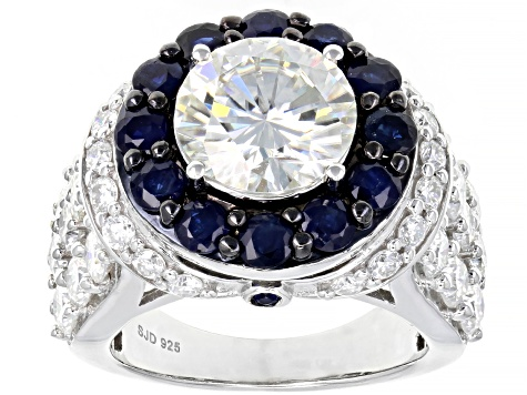 Moissanite And Blue Sapphire Platineve Ring 6.48ctw  DEW.