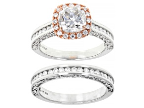 Moissanite Platineve And 14k Rose Gold Over Platineve Ring With Band 2.72ctw DEW