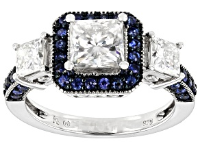 Moissanite Fire and blue sapphire Platineve ring 2.12ctw DEW