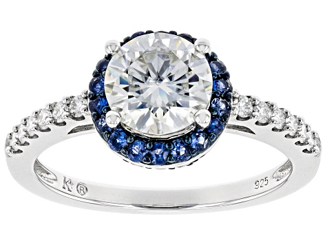 Moissanite And Blue Sapphire Platineve Ring 1.44ctw DEW.