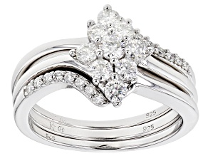 Moissanite .74ctw Platineve ring with two bands .74ctw DEW.