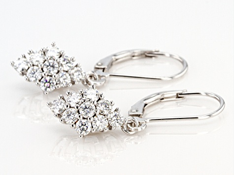Moissanite Platineve Earrings 1.08ctw DEW.