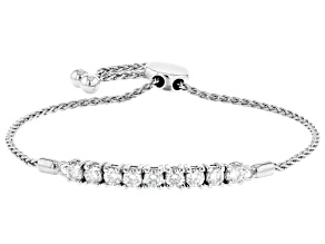 Moissanite Platineve Adjustable Bolo Bracelet 1.17ctw DEW.