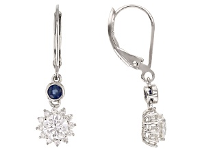 Moissanite And Blue Sapphire Platineve Earrings 1.24ctw DEW.