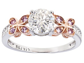 Moissanite and pink sapphire Platineve and 14k rose gold accent over platineve ring 1.08ctw DEW.