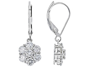 Moissanite Platineve Earrings 1.40ctw DEW.