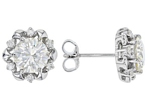 Moissanite Platineve Earrings 2.64ctw DEW.