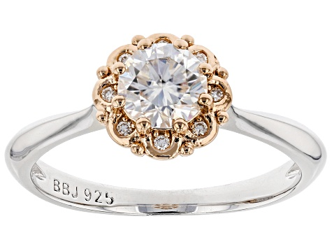 Moissanite Platineve and 14k rose gold accent ring .68ctw DEW.