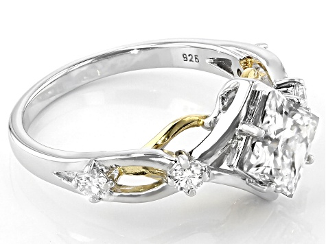 Moissanite Platineve and 14k Yellow Gold Two Tone Ring 1.94ctw DEW.