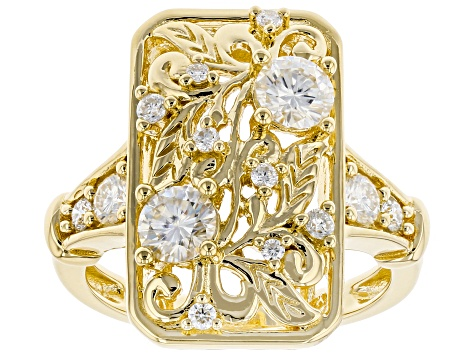 Moissanite 14k Yellow Gold Over Silver Ring 1.08ctw DEW.