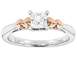 Moissanite Platineve And Rose Gold Over Platineve Two Tone Ring .60ct DEW.
