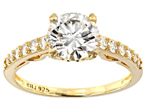 Moissanite 14k Yellow Gold Over Silver Ring 1.86ctw DEW.