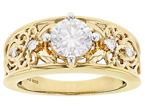 Moissanite 14k Yellow Gold Over Silver Ring 1.08ctw DEW