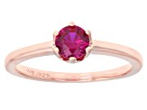 Scott's Spring Collection Lab Created Pink Sapphire 18k Rose Gold Over Silver Solitaire Ring .46ct