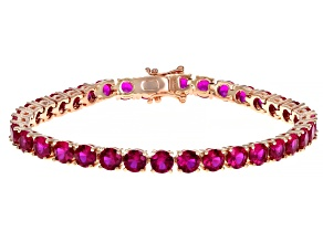 Scott's Spring Collection Lab Created Pink Sapphire 18k Rose Gold Over Silver Bracelet 17.73ctw