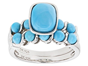 Blue Turquoise Rhodium Over Silver Set of Two Rings