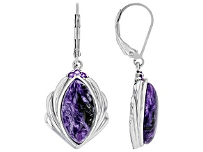 Purple charoite rhodium over silver earrings .10ctw
