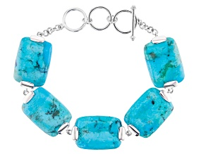 Blue turquoise rhodium over sterling silver toggle bracelet