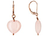Pink Rose Quartz 18k Rose Gold Over Sterling Silver Dangle Earrings