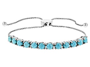 Blue Turquoise Rhodium Over Sterling Silver Sliding Adjustable Bracelet