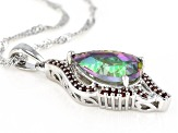 Multicolor Northern Lights(TM) Quartz Rhodium Over Silver Pendant With Chain 3.66ctw