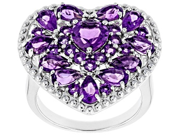 Picture of Purple Amethyst Rhodium Over Sterling Silver Ring 2.93ctw