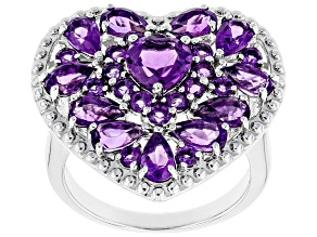 Purple Amethyst Rhodium Over Sterling Silver Ring 2.93ctw