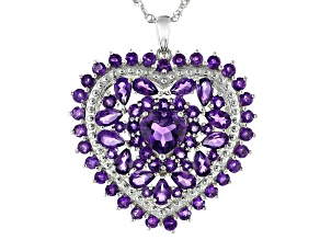 Purple Amethyst Rhodium Over Sterling Silver Pendant With Chain 6.10ctw