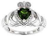 Green chrome diopside rhodium over silver claddagh ring 1.34ctw