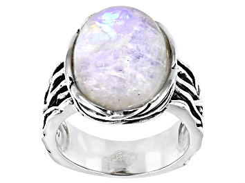 Picture of White Rainbow Moonstone Sterling Silver Ring
