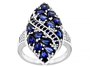 Lab Created Blue Sapphire rhodium over sterling silver ring 3.42ctw