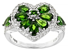 Green chrome diopside rhodium over silver ring 2.33ctw
