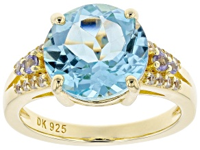 Sky Blue Topaz 18k Gold Over Silver Ring 5.52ctw