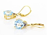 Blue Topaz 18k Gold Over Silver Earrings 6.51ctw