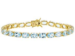 Blue Topaz 18k Yellow Gold Over Silver Bracelet 20.40ctw