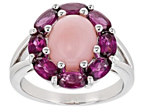 Pink Opal Rhodolite Rhodium Over Sterling Silver Ring 2.24ctw