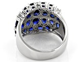Blue Lab Created Sapphire Rhodium Over Silver Ring 4.49ctw