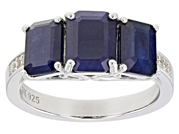 Picture of Blue Sapphire Rhodium Over Silver Ring 2.84ctw