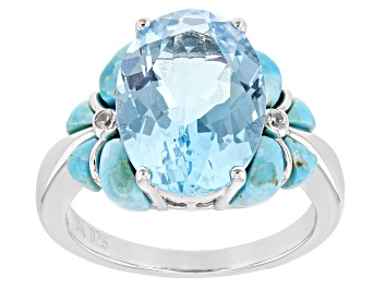 Picture of Sky Blue Topaz Rhodium Over Silver Ring 6.42ctw