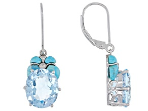 Sky Blue Topaz Rhodium Over Silver Earrings 11.25ctw